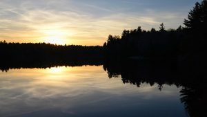 Sunset at the DAR State Forest shows setting sun behind a silhouette of trees, reflected by lake in foreground.
