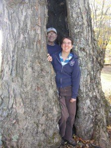 Volunteers emerge from a hollow tree during a 2008 monitoring visit.